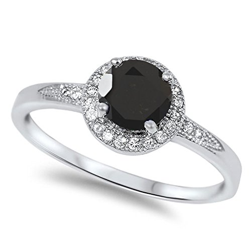 925 Sterling Silver Faceted Natural Genuine Black Onyx Round Halo Ring Size 5 Genuine Round Black Onyx Ring