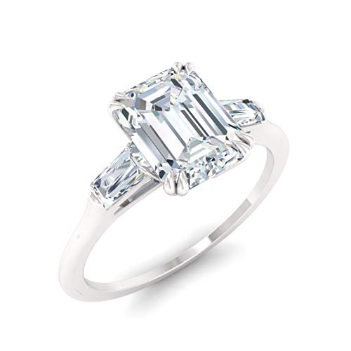 Diamondere Natural and Certified White Topaz and Diamond Baguette Engagement Ring in 14K White Gold | 0.84 Carat Three Stone Petite Ring for Women, US Size 6