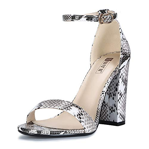 (IDIFU Women's IN4 Cookie-HI Open Toe High Chunky Block Heel Pump Sandal (Snake White, 6 B(M) US))