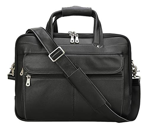 Polare Men's Thick Full Grain Leather Laptop Business Briefcase
