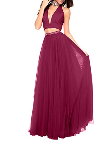 La Abendkleider Sexy Weinrot Lang Tief Abschlussballkleider Partykleider Ballkleider V mia Festlichkleider Brau Neu Linie Ausschnitt A Fqrw1F