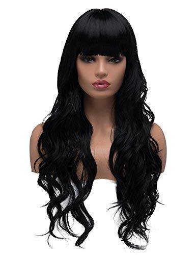 BESTUNG Long Curly Wavy Wigs for Women Ladies Synthetic Full Hair Natural Black Brunette Wig with Straight Bangs for Daily Wear (Straight Bangs, -
