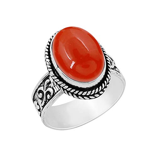 Genuine Oval Shape Carnelian Solitaire Ring 925 Silver Plated Vintage Style Handmade for Women Girls (Size-8)
