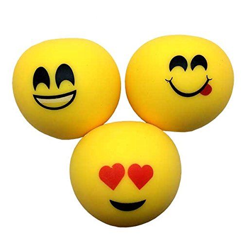 Relaxus Moji Large Anti Stress Ball and Hand Exerciser - 3 Balls Set. 2.5''