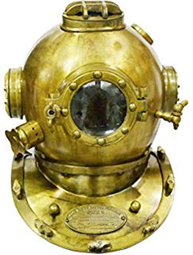 "Scuba Diving Divers Helmet U.S Navy Mark V Solid Steel Original Antique 18"""