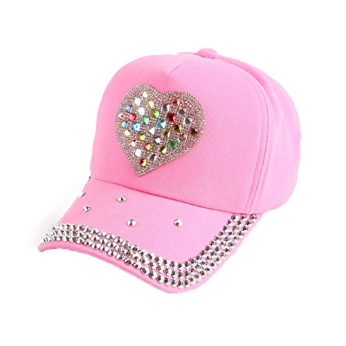(Queenbox Girls Rhinestone Crystal Bling Baseball Cap Jean Kids Vintage Washed Cotton Dad Hat Heart Shaped Distressed Strapback Hat for Boys,Pink)