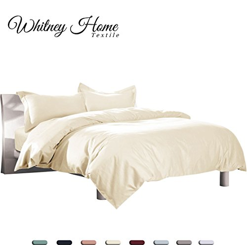 Hotel Quality 100% Natural Cotton Duvet Cover Set Queen/Full 3 Pieces, Soft Hypoallergenic Breathable Comforter Case, High Thread Count Quilt Cover Fade Stain Resistant Solid Ivory - Tree Minimalist Christmas