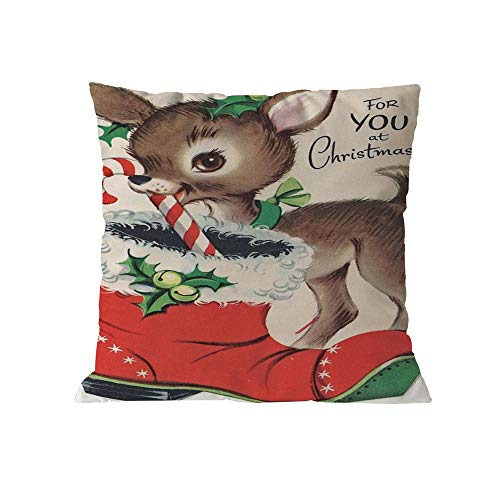 Pausseo Pillowcase Merry Christmas Xmas Santa Claus Cotton Pillow Cover Cushion Sofa Waist Throw Pillowcase Home Decoration Office Car Bed Decor Wrinkle Resistant Hypoallergenic Pillowslip Gift