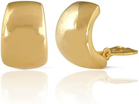 JanKuo Jewelry Gold Plated Shining Polished Finish Clip On Earrings