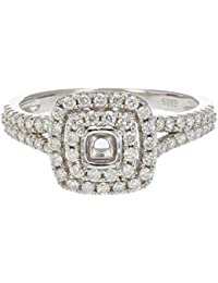 1/2 CT Diamond Semi Mount Engagement Ring in Sterling Silver Size 7