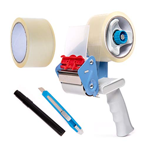 BFO Industries Moving Kit - Tape Gun, 2 Rolls of Industrial Packing Tape, Utility Knife & Marker