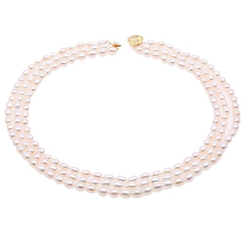 JYX Pearl Necklace Triple-strand Oval White Freshwater Pearl Necklace ()