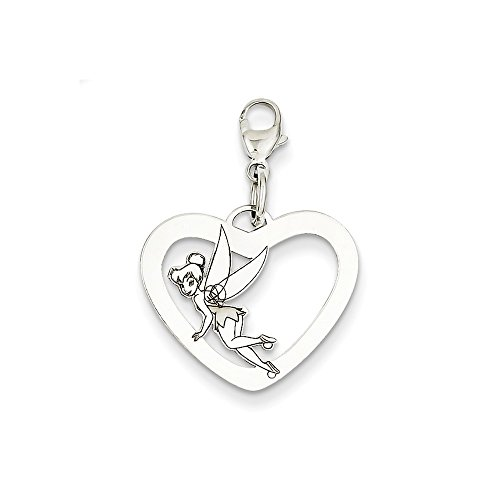 - Roy Rose Jewelry Sterling Silver Disney Tinker Bell Heart Lobster Clasp Charm Necklace Complete with Chain