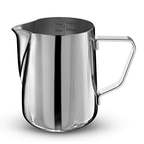 PinShang Stainless Steel Frothing Steaming Pitcher Garland Cup 350ml for Espresso Machine, Coffee Milk Frother and Latte ()