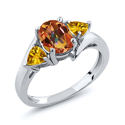 Gem Stone King 2.00 Ct Oval Ecstasy Mystic Topaz and Citrine 925 Sterling Silver Women's Ring (Size ()