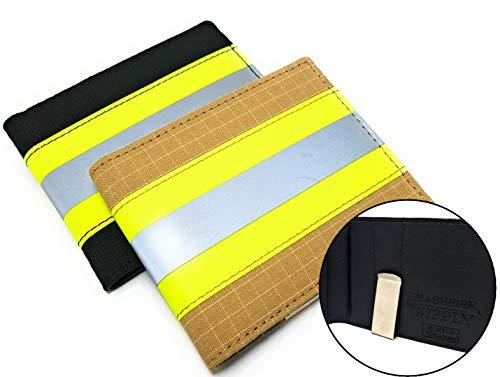 Firefighter Clip Wallet RFID Bifold Original Turnout Bunker Gear Fabric (Beige & Yellow)