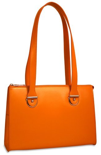 Jack Georges Milano Collection Top Zip Shoulder Leather Handbag in Orange (Leather Georges Bag Jack)