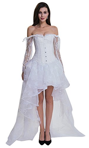 Kimring Womens Steampunk Victorian Elegant Off Shoulder Wedding Bride Corset Top With High Low Skirt Set White Small