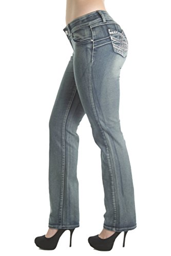 Crystal Pocket Stretch Jeans (D273BT – Colombian Design, Butt Lift, Levanta Cola, Low Waist, Boot Leg Jeans in Blue Size 0)