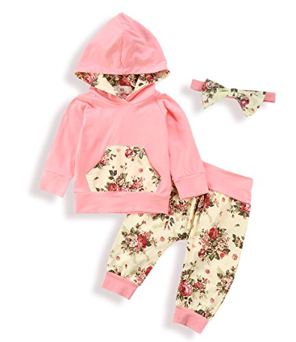 Zefeng Baby Girls Floral Print Clothes Set Long Sleeve Hoodies Sweatshirt and Pants With Bowknot Headband(0-6Months)
