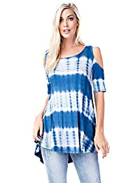 Betsy Red Couture Women And Plus Size Loose Fit Tie Dye Soft Knit Tunic Top