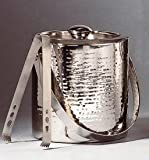 Image of Elegance Hammered 6-Inch Stainless Steel Ice Bucket With Tongs
