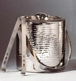 Elegance Hammered 6-Inch Stainless Steel Ice Bucket With Tongs (Hammered Ice Bucket)