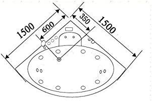 Ba/ñera hidromasaje DOLPHIN Ba/ñera de esquina Jacuzzi hidromasaje Nueva 150x150 Terapia luz de colores Jacuzzi para 2