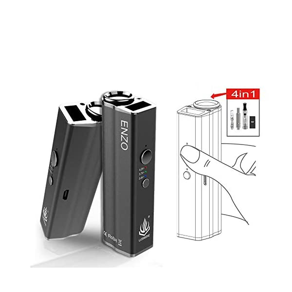 CBD Vape Cartridge Battery 4 in 1 VAPETC Vape Pod Battery 650mAh CBD Battery with Variable Voltage for Oil Cartridges Vape Refilling Cartridges Black (No Nicotine)