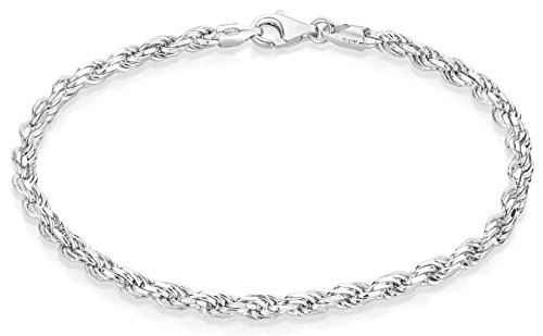 3.5mm 925 Sterling Silver Nickel-Free Diamond-Cut Rope Link Italian Bracelet, 8