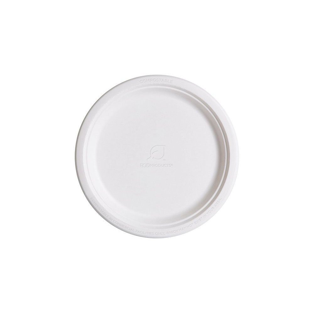 Eco-Products EP-P005 Renewable & Compostable Sugarcane Plates, 10-inch Dinner Plate, (Case of 500)