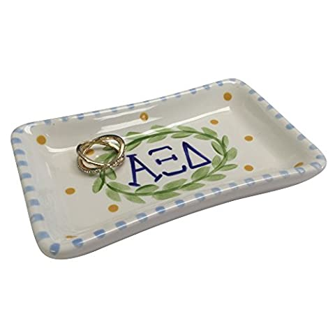 Alpha Xi Delta Sorority Trinket Tray Ring Dish Made of Ceramic Material Letters Officially Licensed