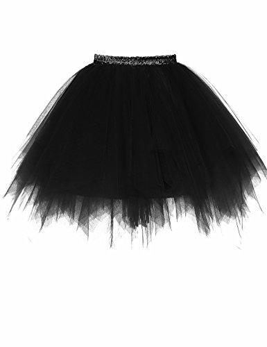 annes 1950 Jupe Petticoat Tutu des Tulle Jupon Noir RuiyuhongE Bubble Ballet PzqtWI8