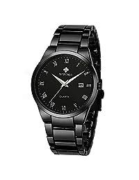 WWOOR Hombre Relojes Análogo Reloj de Pulsera para Hombre Reloj Acero Inoxidable Hombre Color Negros Azul (Black)