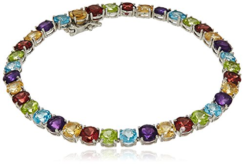 Sterling Silver Multi colored Gemstone Bracelet, (Multi Colored Topaz Bracelet)