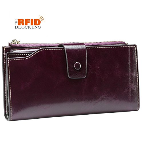 JSLOVE Womens RFID Block Large Capacity Leather Clutch Wallet