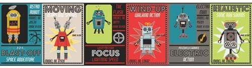 York Wallcoverings wk6748bd Waverly Kids Robotic Border、ティール/ベージュ/グリーン/グレー/ブラック/イエロー/レッド