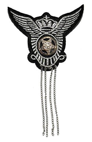 [Wink Blink King Crown Wing Silver Lace Star Military Rock Punk Biker Chain Blazer Jacket Fashion Costume Badge Brooch/Pin #BP-10] (King Costume Making Office)