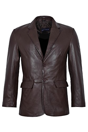 Cheap CLASSIC BLAZER 9124 Men's Brown Black Tailored Soft Real Nappa Leather Jacket Coat for sale