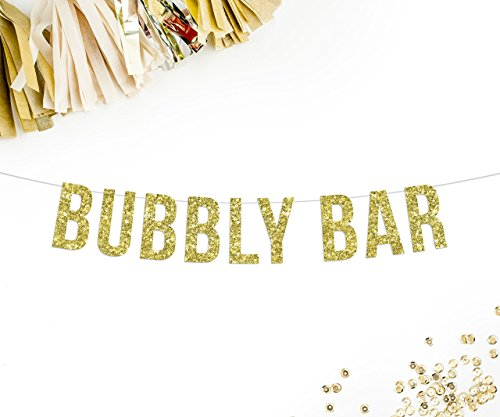 Bubbly Bar Gold Glitter Party Banner || champagne mimosa brunch