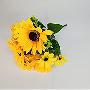 """Ieoyoubei 2 PCS Bouquet of Artificial Silk Flower Sunflower 12"""" Bouquet and Green Leaf for Home Decoration Bridal Wedding Festival Decoration Small Flower (Yellow-Orange) 2"""