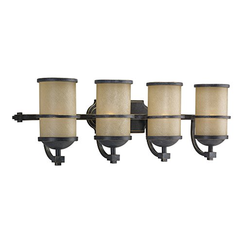 Sea Gull Lighting 44523-845 Roslyn Four-Light Bath or Wall Light Fixture with Creme Parchment Glass Shades, Flemish Bronze Finish - Light Flemish Bronze Chandelier