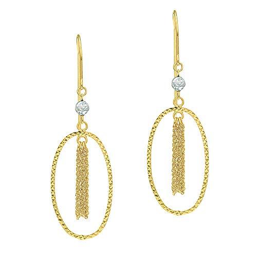 Ritastephens 14k Yellow & White Gold Diamond-cut Open Oval Dangle Tassels Hook Wire Earrings