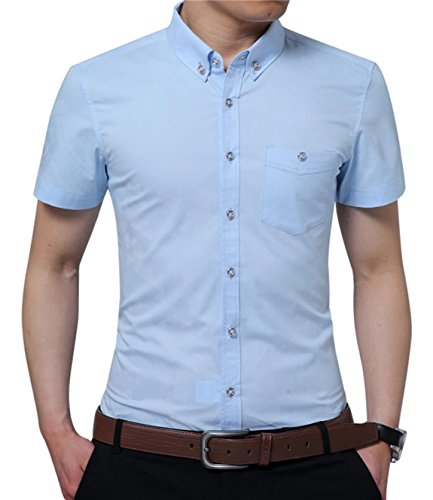 YTD Mens 100% Cotton Casual Slim Fit Short Sleeve Button Down Printed Plaid Dress Shirts (X-Large, Sky Blue)