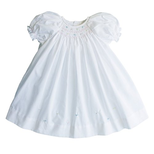 Petit Ami Baby Girls' Daydress with Embroidered Hem, Newborn, White
