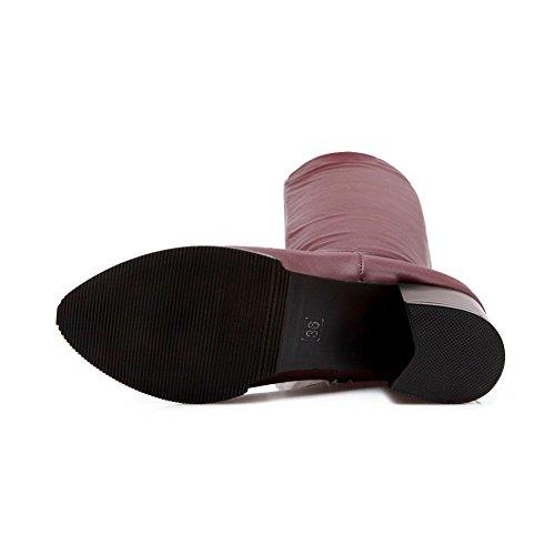 Faltbare imitierte Zehe BalaMasa Claret runde Womens Lederstiefel Chunky Heels PxgFnWUz4w