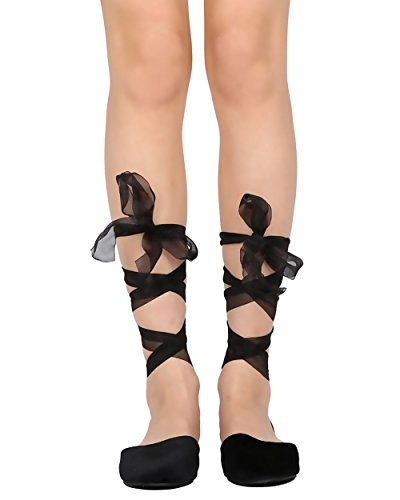 Juliet Costume Design (Cape Robbin Juliet-3 Women Velvet Lace Up Sandal - Casual Dressy Costume - Sheer Ankle Wrap Flat,Black,8)