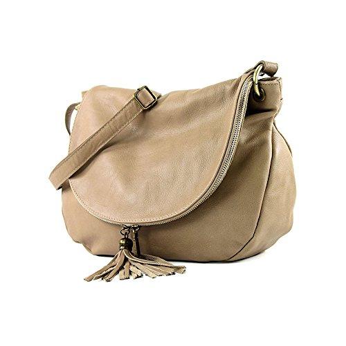 OLGA Handtasche Satteltasche mit zwei Fächern und Reißverschluss, Weichleder, Hergestellt in Italien Light Taupe