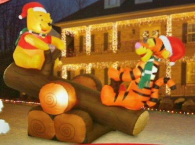 disney christmas 5 winnie the pooh tigger log teeter totter animated airblown inflatable by - Disney Outdoor Christmas Decorations