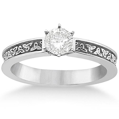 Carved Irish Celtic Solitaire Engagement Ring Setting in Palladium with Etched Irish (Palladium Celtic Ring)